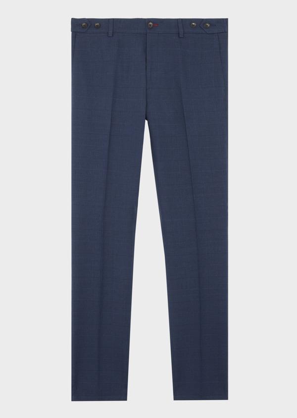 Pantalon coordonnable Slim en lin et coton bleu marine Prince de Galles - Father and Sons 39860
