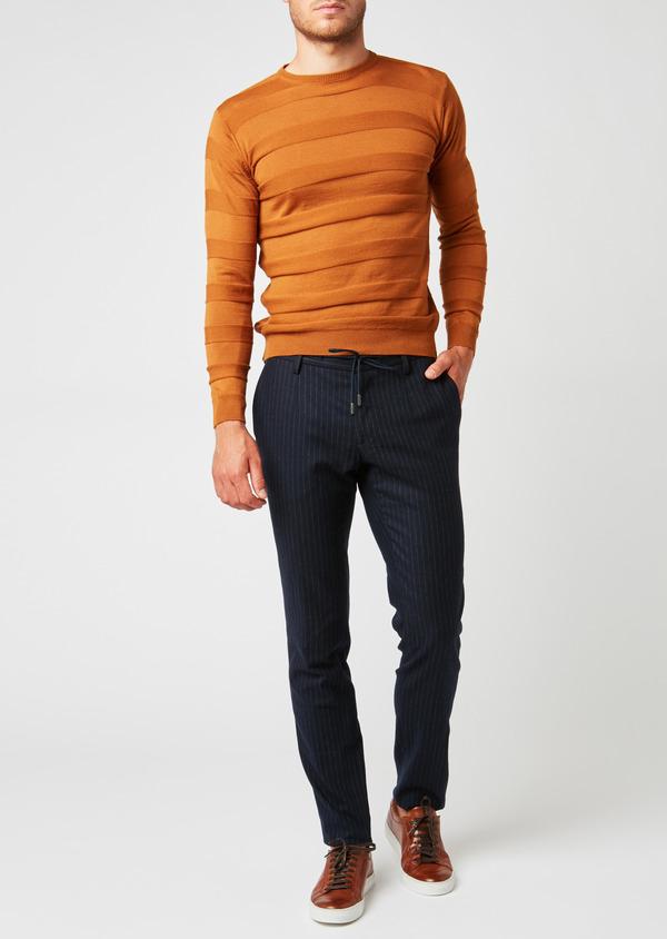 Pantalon Slim coordonnable en laine bleu marine à rayures - Father and Sons 26965