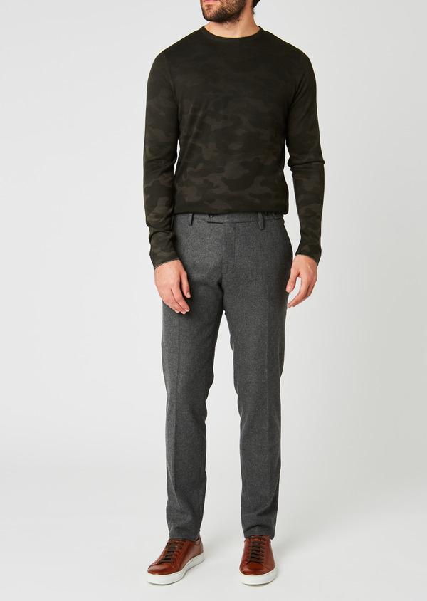 Pantalon Slim coordonnable en laine unie grise - Father and Sons 26959