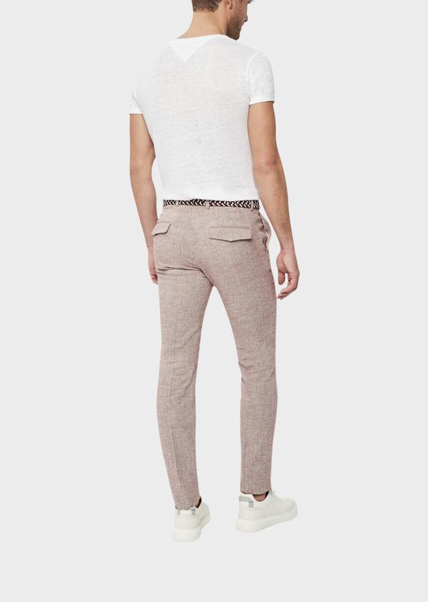 Pantalon coordonnable Slim en coton mélangé uni bordeaux - Father and Sons 39224