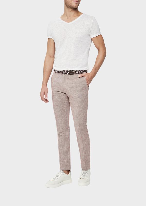 Pantalon coordonnable Slim en coton mélangé uni bordeaux - Father and Sons 39223