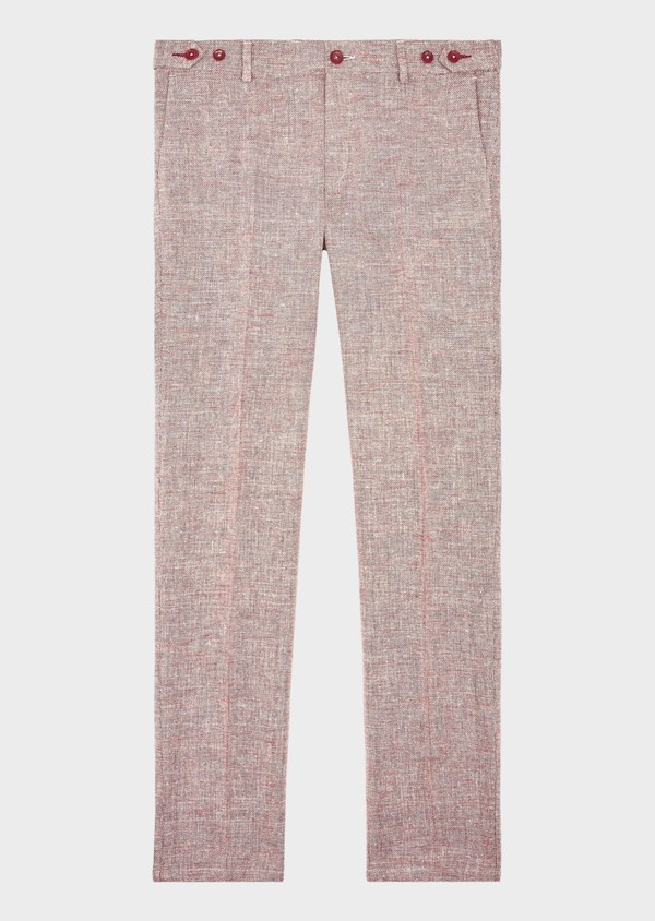 Pantalon coordonnable Slim en coton mélangé uni bordeaux - Father and Sons 39221
