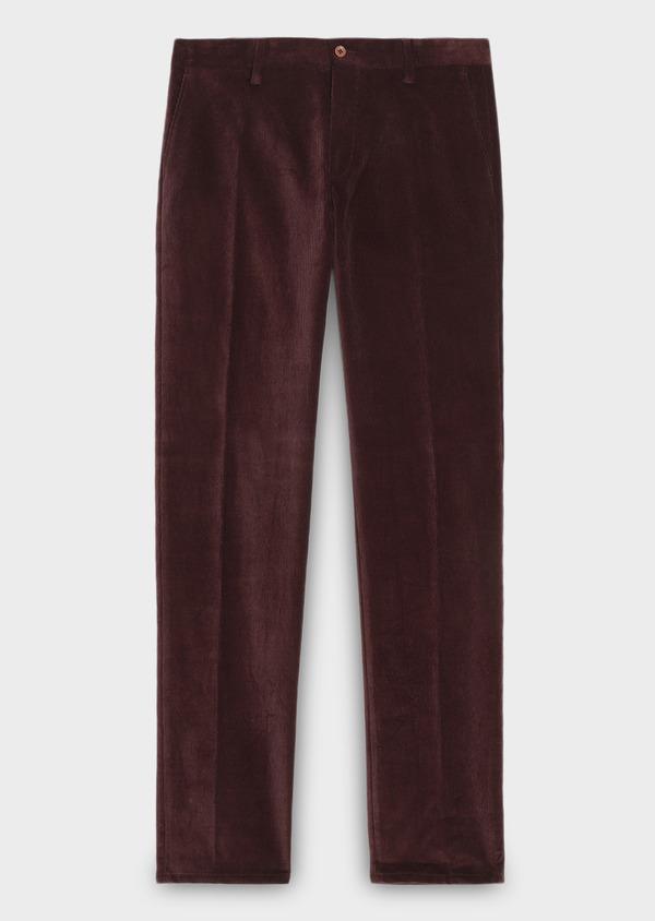 Pantalon coordonnable Slim en velours uni bordeaux - Father and Sons 27983
