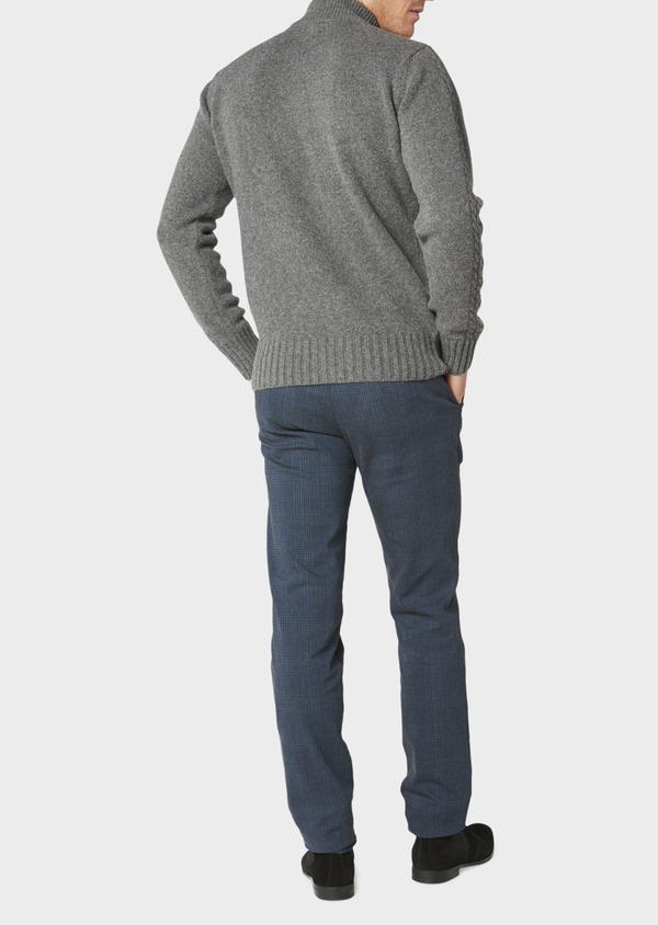 Chino slack skinny en coton stretch bleu foncé Prince-de-Galles - Father and Sons 30982