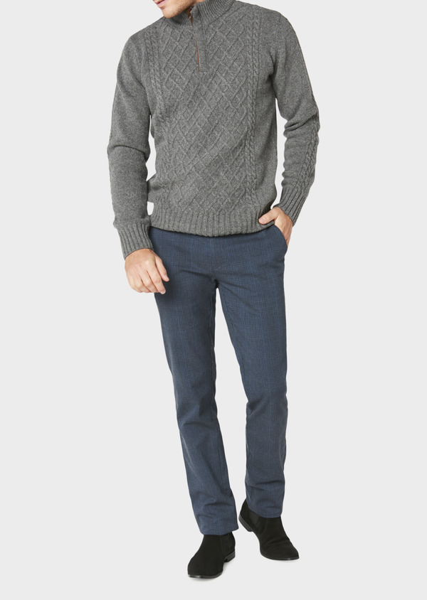 Chino slack skinny en coton stretch bleu foncé Prince-de-Galles - Father and Sons 30981