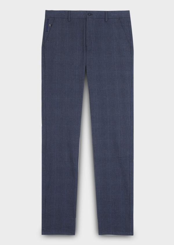 Chino slack skinny en coton stretch bleu foncé Prince-de-Galles - Father and Sons 30979