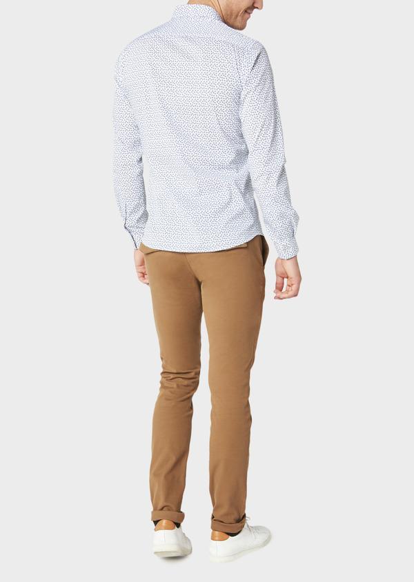 Chino slack skinny en coton façonné stretch uni marron - Father and Sons 30976