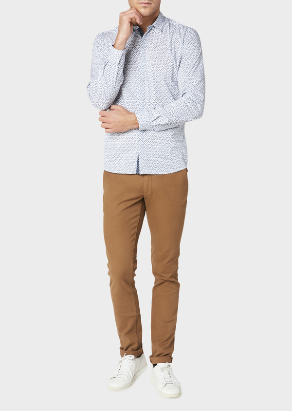Chino slack skinny en coton façonné stretch uni marron - Father and Sons 30975