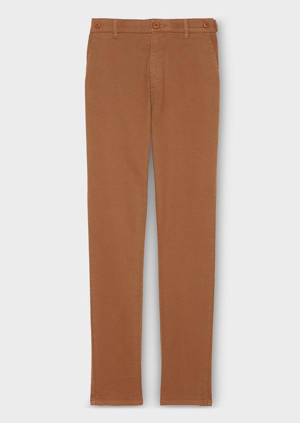 Chino slack skinny en coton façonné stretch uni marron - Father and Sons 30973