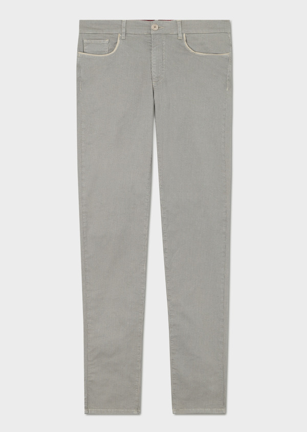 Pantalon casual skinny en coton stretch à motif fantaisie beige - Father and Sons 33335
