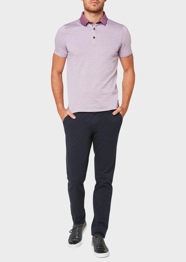 Chino slack skinny en coton stretch à motif fantaisie bleu indigo - Father and Sons 33301