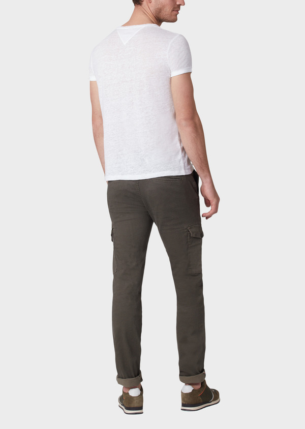 Pantalon cargo skinny en coton stretch à motif fantaisie vert kaki - Father and Sons 33885