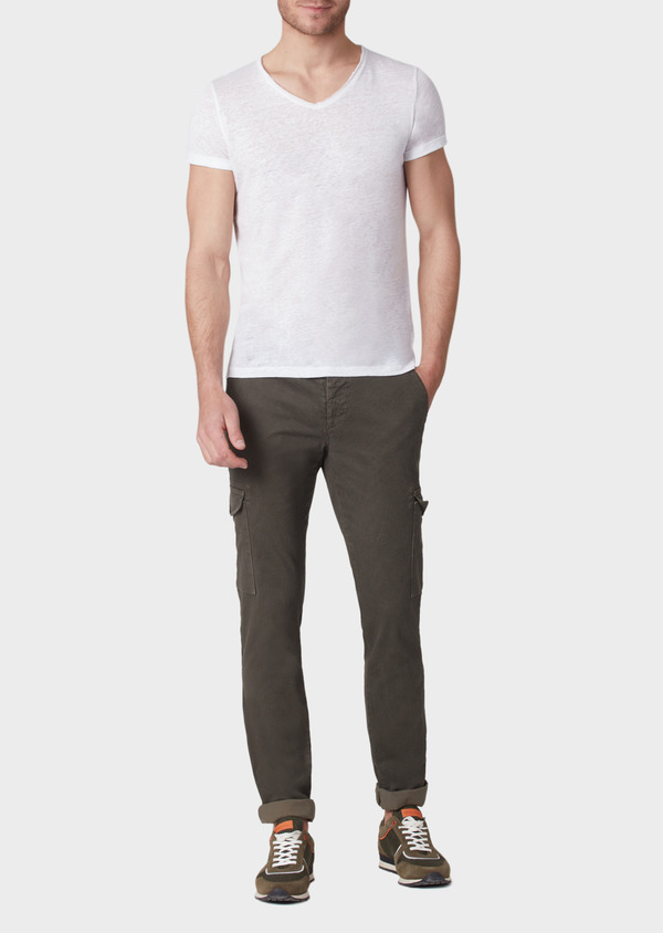 Pantalon cargo skinny en coton stretch à motif fantaisie vert kaki - Father and Sons 33884