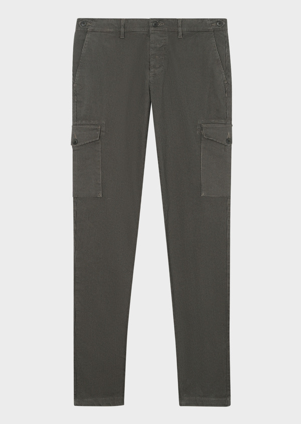 Pantalon cargo skinny en coton stretch à motif fantaisie vert kaki - Father and Sons 33882