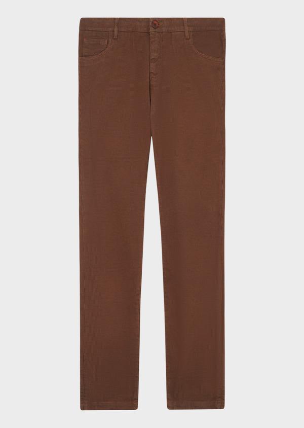 Pantalon casual skinny en coton stretch à motif fantaisie marron - Father and Sons 33906