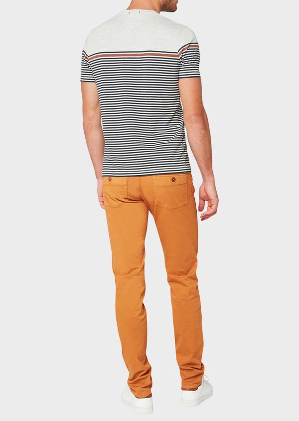 Pantalon casual skinny en coton stretch à motif fleuri marron - Father and Sons 33913