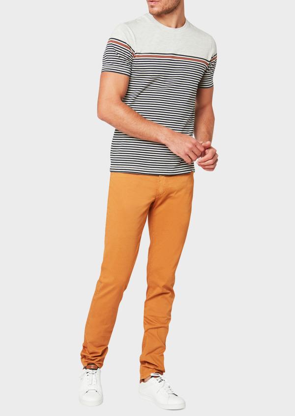 Pantalon casual skinny en coton stretch à motif fleuri marron - Father and Sons 33912