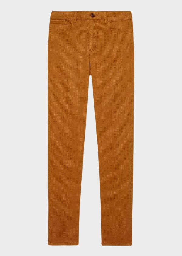 Pantalon casual skinny en coton stretch à motif fleuri marron - Father and Sons 33910