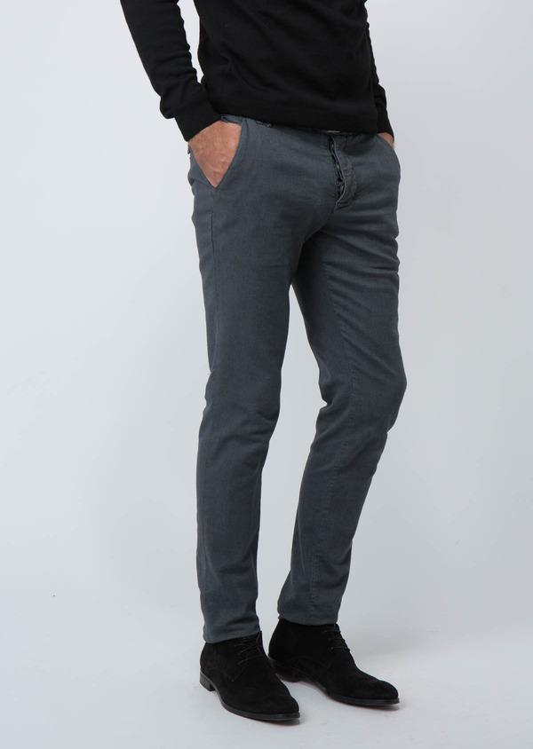 Chino slack skinny en velours côtelé uni gris clair - Father and Sons 30114