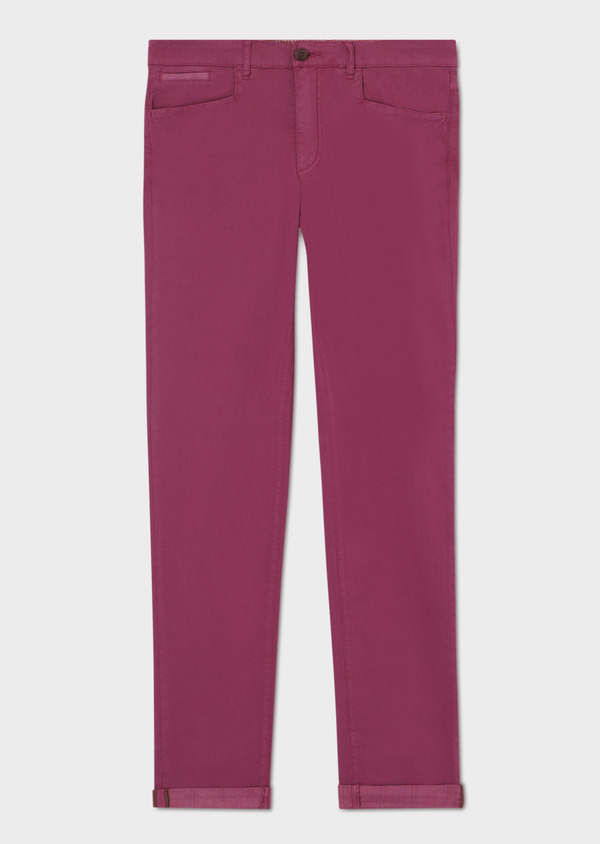 Pantalon casual skinny en coton stretch rouge Prince de Galles - Father and Sons 33918