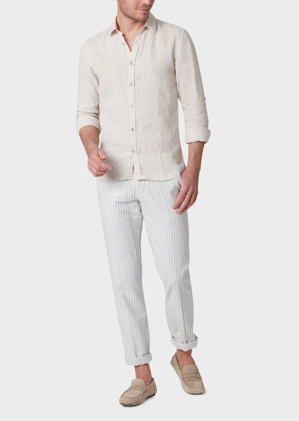 Chino slack skinny en coton à rayures grises - Father and Sons 33888
