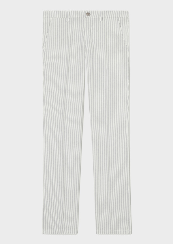 Chino slack skinny en coton à rayures grises - Father and Sons 33886
