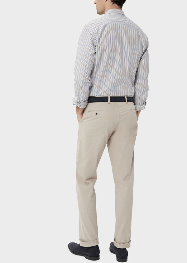 Chino slack skinny en coton stretch uni beige - Father and Sons 34459
