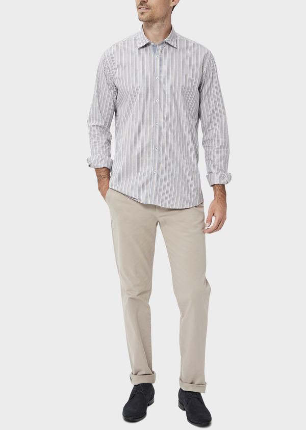 Chino slack skinny en coton stretch uni beige - Father and Sons 34458