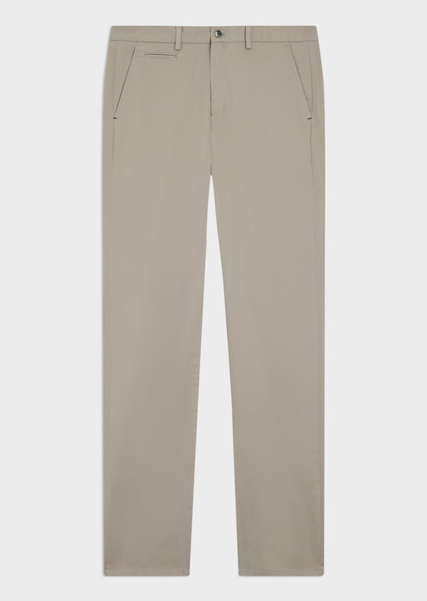 Chino slack skinny en coton stretch uni beige - Father and Sons 34456