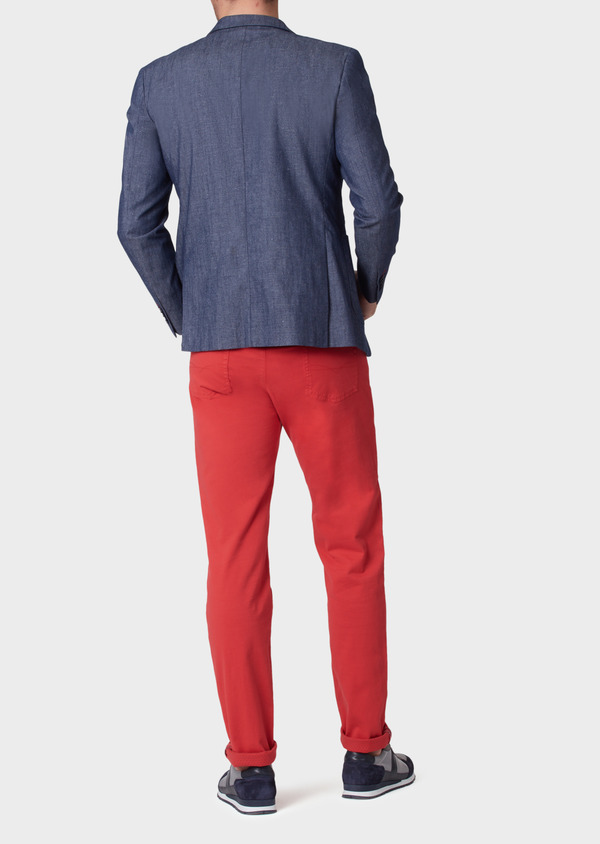 Pantalon casual skinny en coton stretch uni rouge - Father and Sons 33925