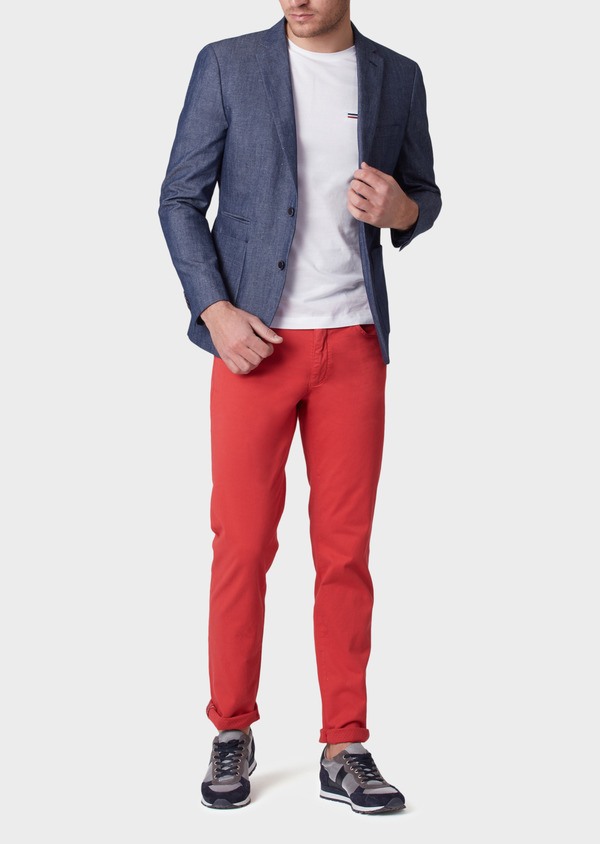 Pantalon casual skinny en coton stretch uni rouge - Father and Sons 33924