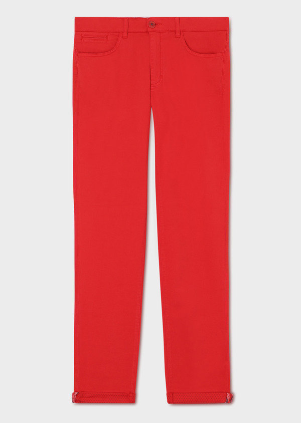 Pantalon casual skinny en coton stretch uni rouge - Father and Sons 33922