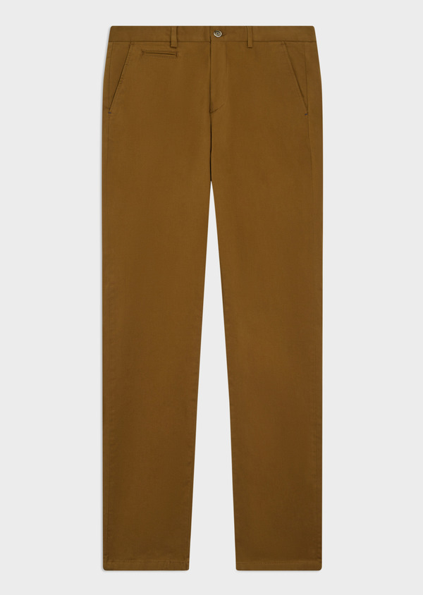 Chino slack skinny en coton stretch uni camel - Father and Sons 35722