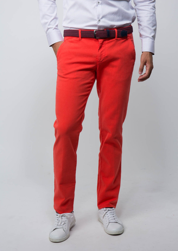 Chino slack Skinny en coton stretch uni orange - Father and Sons 28817