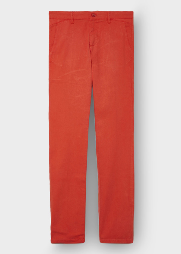Chino slack Skinny en coton stretch uni orange - Father and Sons 28816