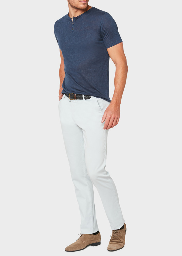 Chino slack skinny en coton stretch uni bleu ciel - Father and Sons 33297