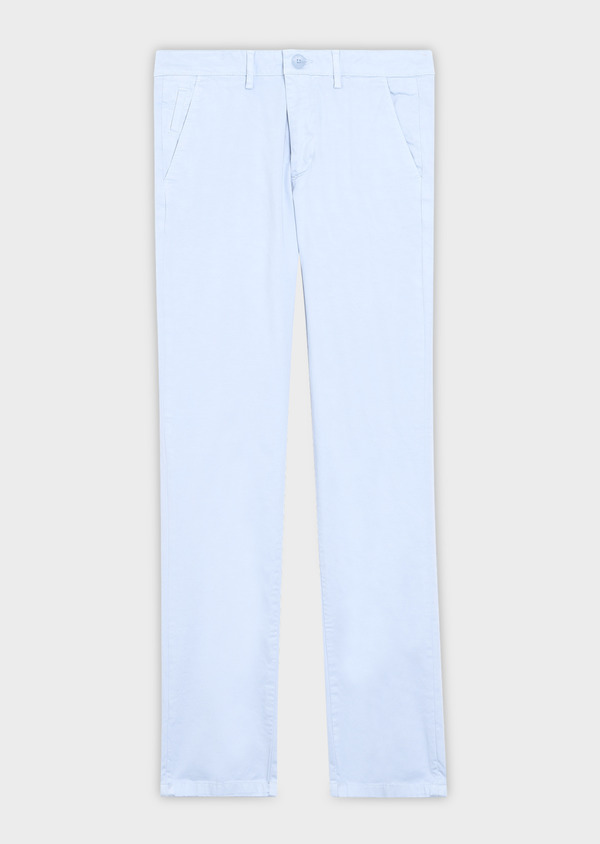 Chino slack skinny en coton stretch uni bleu ciel - Father and Sons 34450