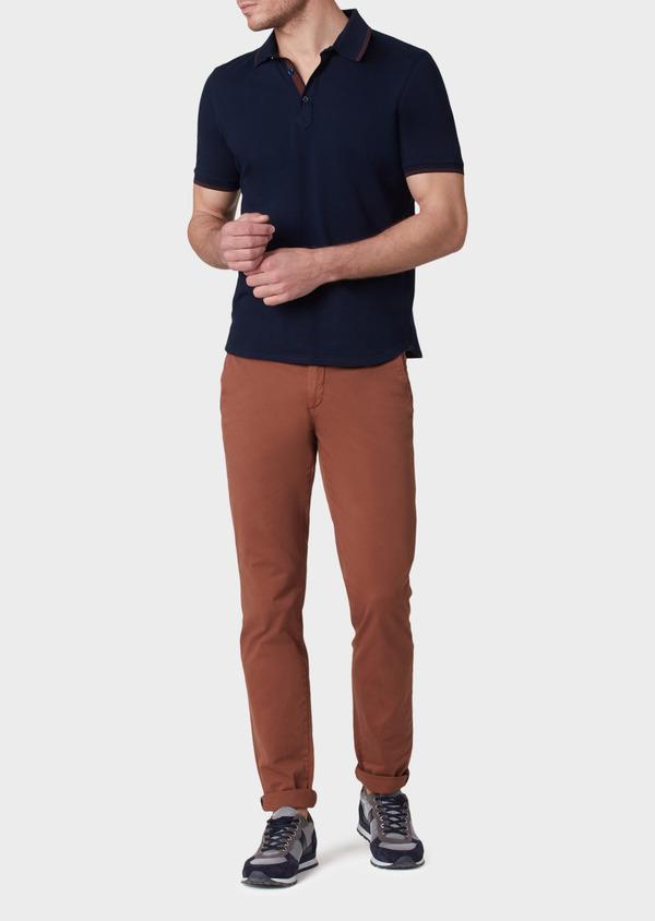 Chino slack skinny en coton stretch uni cognac - Father and Sons 33916