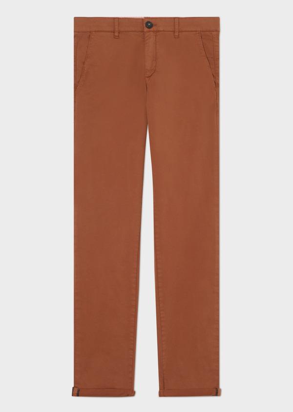 Chino slack skinny en coton stretch uni cognac - Father and Sons 33914