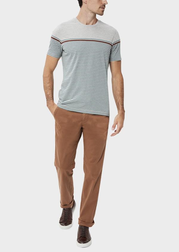 Chino slack skinny en coton stretch uni cognac - Father and Sons 34556