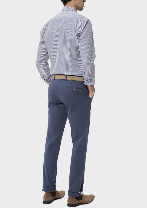 Chino slack skinny en coton stretch uni bleu indigo - Father and Sons 34463