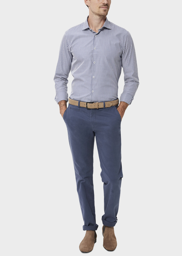 Chino slack skinny en coton stretch uni bleu indigo - Father and Sons 34462