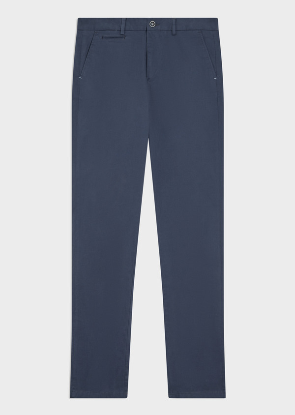 Chino slack skinny en coton stretch uni bleu indigo - Father and Sons 34460