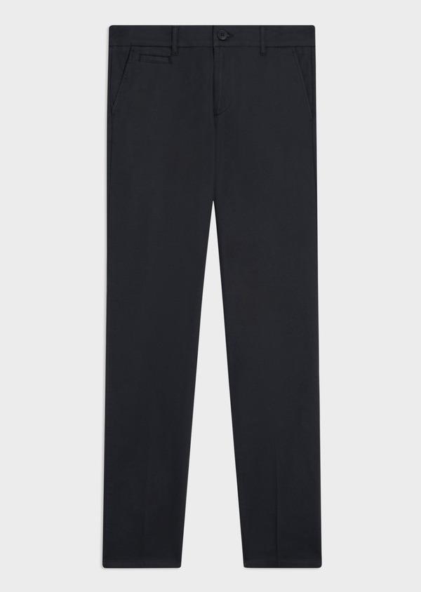 Chino slack skinny en coton façonné stretch uni bleu marine - Father and Sons 34464