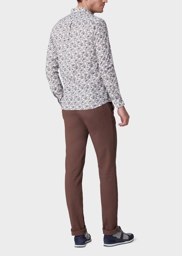 Chino slack skinny en coton stretch uni marron - Father and Sons 33897