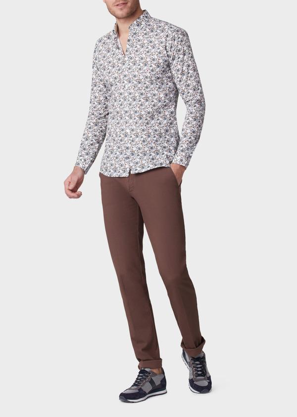 Chino slack skinny en coton stretch uni marron - Father and Sons 33896
