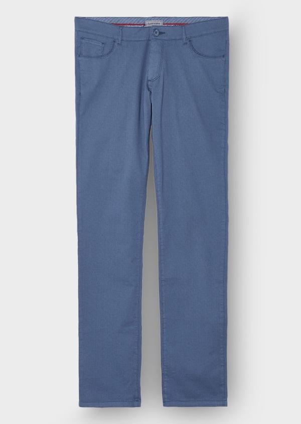 Pantalon casual skinny en coton stretch uni bleu - Father and Sons 28821
