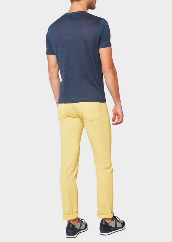 Pantalon casual skinny en coton stretch uni jaune - Father and Sons 33306