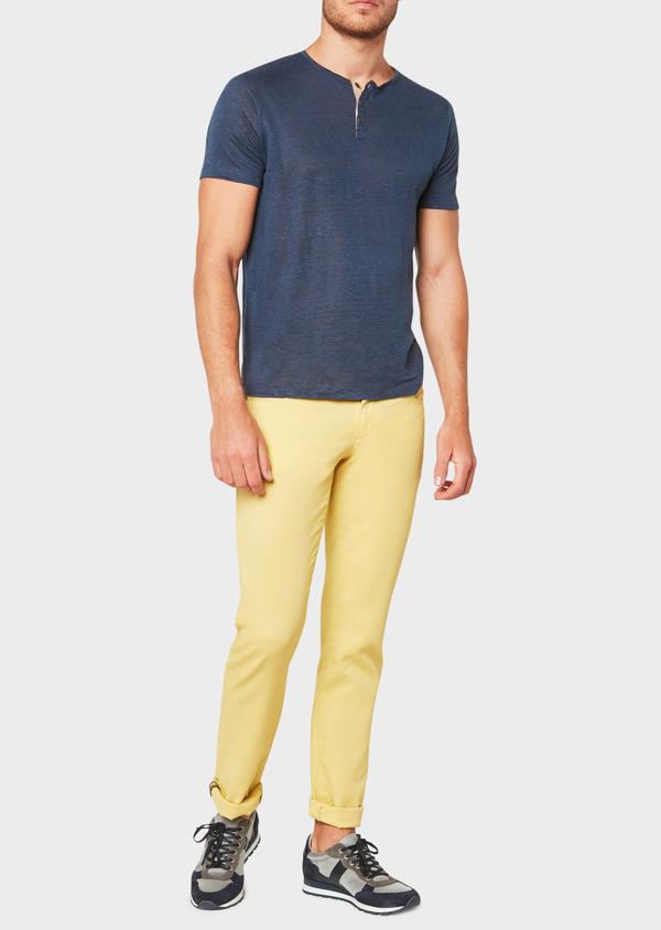 Pantalon casual skinny en coton stretch uni jaune - Father and Sons 33305