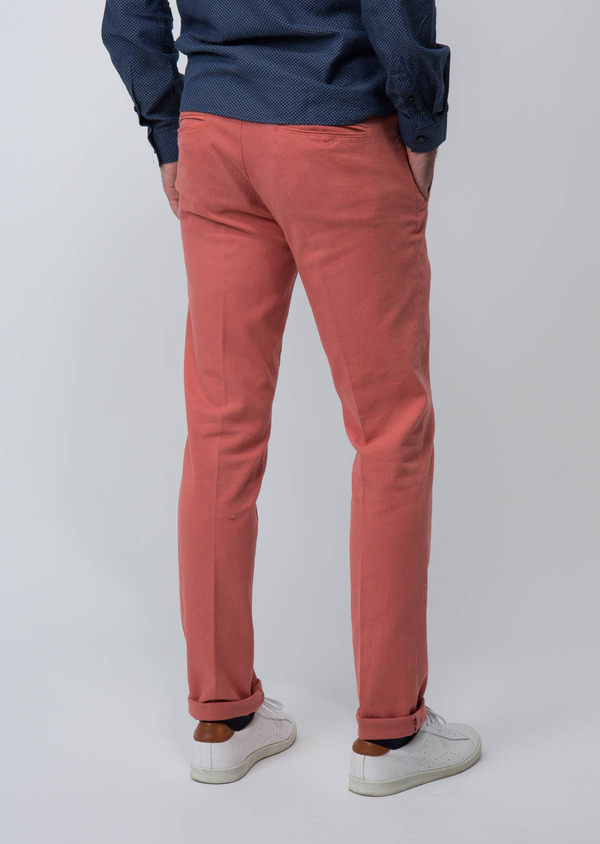 Chino slack skinny en coton stretch uni rose foncé - Father and Sons 28813